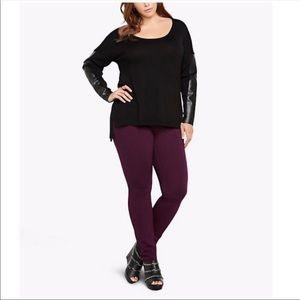TORRID FAUX LEATHER SLEEVE SWEATER